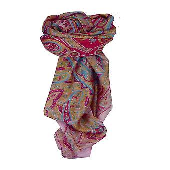 Amoreira seda tradicional lenço quadrado Chail rosa & vermelho por Pashmina & seda