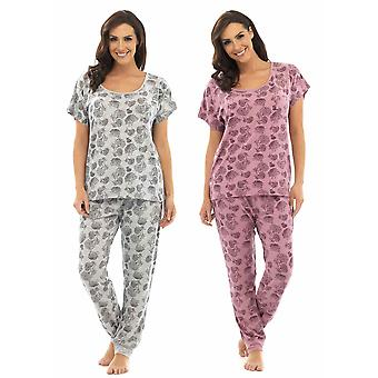 2 Pack Ladies Wolf & Harte Floral Print Polycotton Short Sleeve Pyjama Lounge Wear