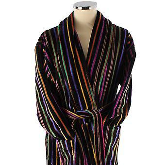 Bown London Mozart pogrubienie podstawowej paski bawełniane welurowe szlafrok - Black/Multi-colour