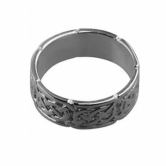 18ct White Gold 6mm Celtic Wedding Ring Size H