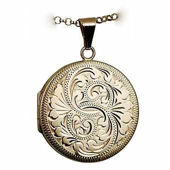 9ct Rose Gold 29mm engraved flat round Locket with belcher Chain 24 inches