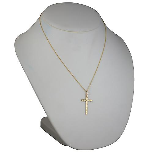 9ct Gold 35x20mm hand engraved solid block Cross with a cable Chain 18 inches