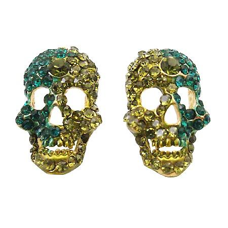 Sparkling Skull Earrings Peridot & Blue Zircon Crystals Skull Jewelry