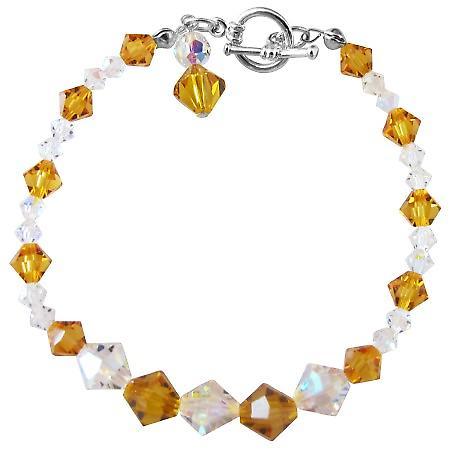 Handcrafted Custom Bracelet Swarovski Smoked Topaz & AB Crystals