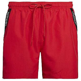 Calvin Klein Medium Drawstring Swim Shorts, Lipstick Red, X-Large