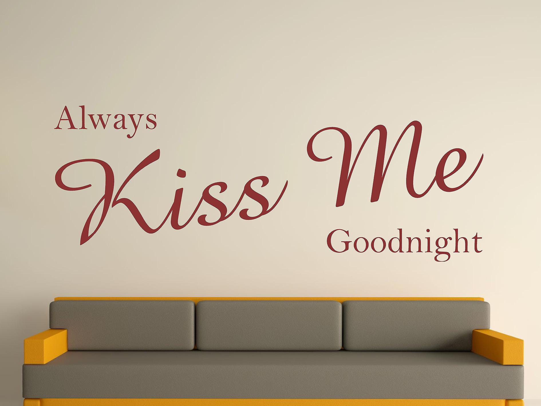 Always Kiss Me Goodnight Wall Art Sticker - Burgundy