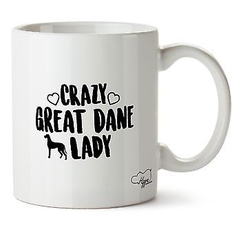 Hippowarehouse Crazy Great Dane Lady Dog Printed Mug Cup Ceramic 10oz