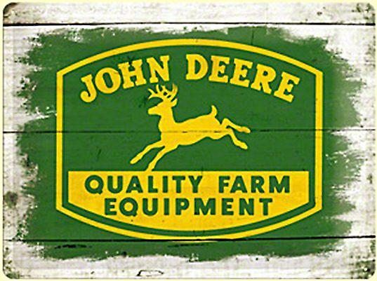 John Deere Logo on Wood Look Background large embossed steel sign   (na 4030)