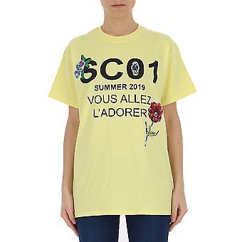 Semi-couture Yellow Cotton T-shirt