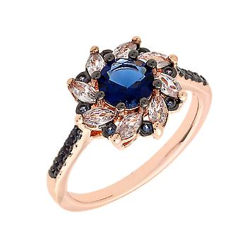 Bertha Juliet Collection Women's 18k RG Plated Blue Flower Fashion Ring Size 6