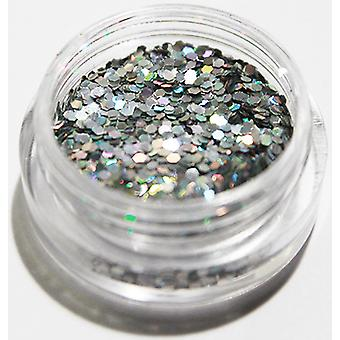 1st Hexagon glitter Silver
