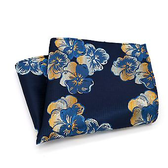Blue & orange men's floral wedding look pocket square