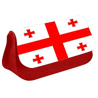 Georgia Flag Printed Design Pencil Case for Stationary/Cosmetic - 0064 (Red) by i-Tronixs
