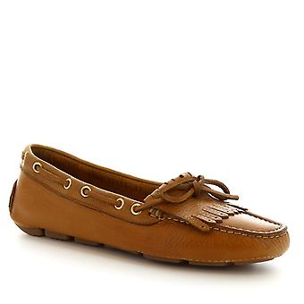 Women's handmade round toe slip-on driving loafers in tan calf leather