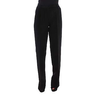 Ermanno Scervino Black Striped Cotton Blend Wide Legs Pants -- SIG3630960
