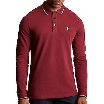 Lyle & Scott Long Sleeve Tipped Polo Shirt   Claret Jug