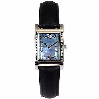 Genuine Diamond Ladies Black Diamond  Black Leather Strap Dress Watch GOTW104