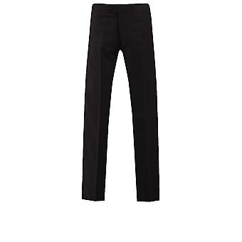 Dobell Mens Black Tuxedo Trousers Regular Fit 100% Wool