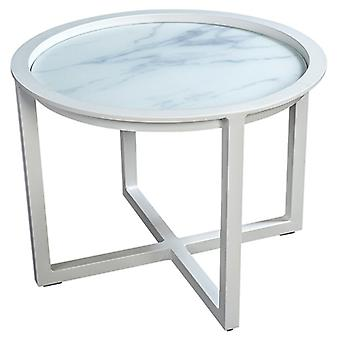 Flughafen7 | QUEENS LOUNGE TABLE GLAS 60CM |  Weiß | Gartentische