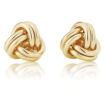 Jewelco London Damas 9ct oro amarillo doble hilo amor nudo Stud pendientes 10mm