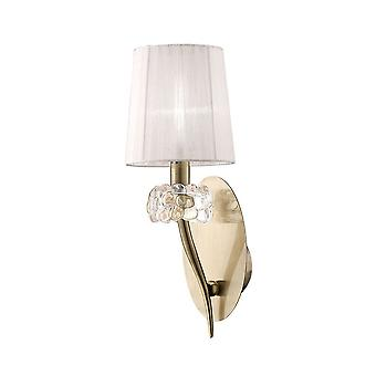 Mantra M4635AB/S Loewe Wall Lamp Switched 1 Light E14, Antique Brass With White Shade