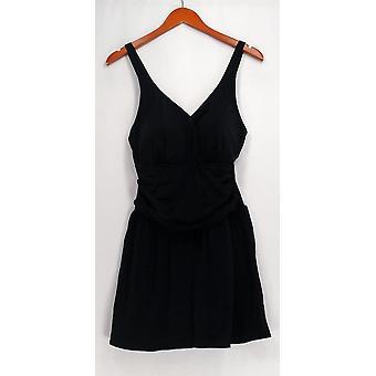 Denim & Co. Swimsuit Beach Ruched Flounce Swim Dress Black A288836
