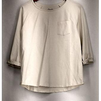 Denim & Co. Top Essentials Jersey 3/4 mouw pocketed Tee Ivory A267840