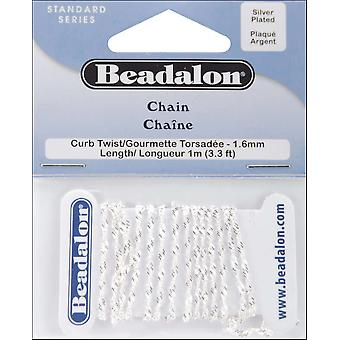 Curb Twist Chain 1.6Mm 3.28' Pkg Silver 340B032
