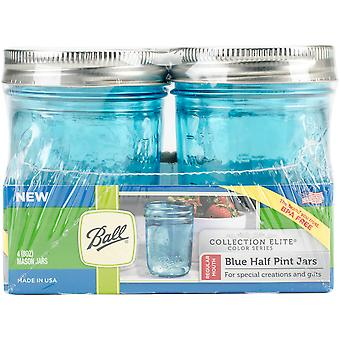 Ball (R) Regular Mouth Canning Jars 4/pkg-Half Pint - Elite Color Series Blue 69022
