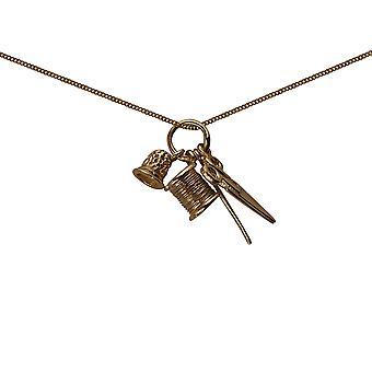 أربعة 9 قيراط الذهب المعلقات 15x4mm خياطة مع كبح سلسلة 16 بوصة مناسب فقط للأطفال