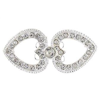 Brooches Store Silver and Clear Crystal Double Open Heart
