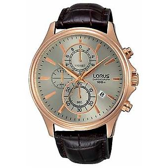 Lorus Mens Brown Leather Strap Grey Dial RM318DX9 Watch