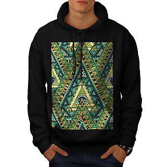 Tribal Stylish Pattern Men Black Hoodie | Wellcoda