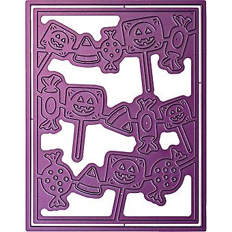 Cheery Lynn Designs A2 Card Die-Halloween Candy In Frame, 4.25