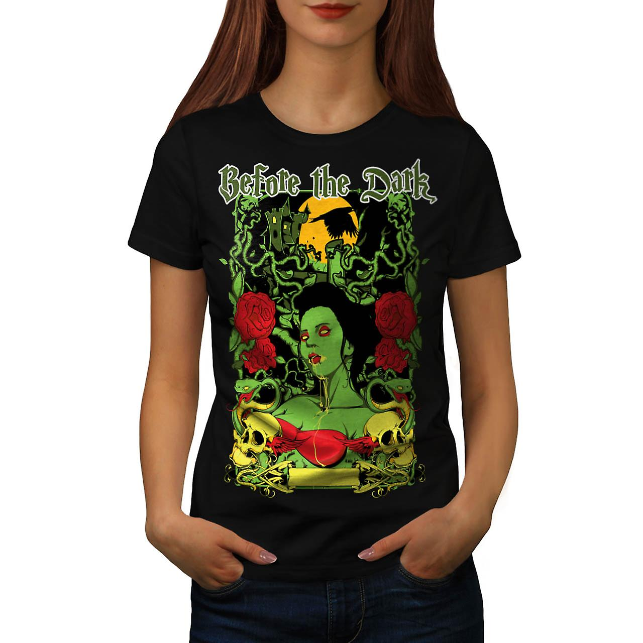 Before Dark Vampire Zombie Girl Women Black T-shirt | Wellcoda