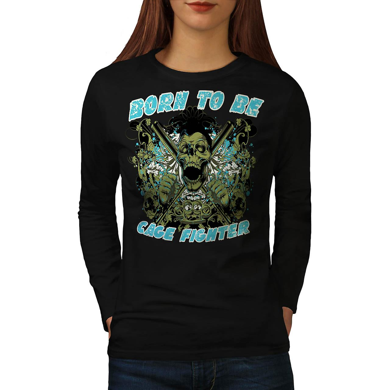 Born Cage Fighter USA Dead Skull Women Black Long Sleeve T-shirt | Wellcoda