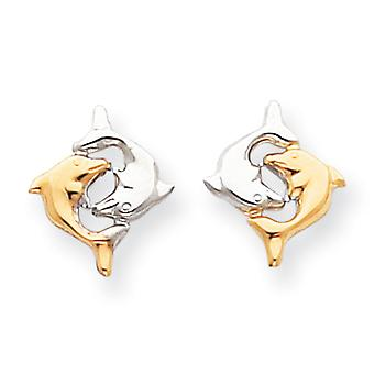 14k White Gold and Rhodium Dolphin Post Earrings - .5 Grams - Measures 15x13mm
