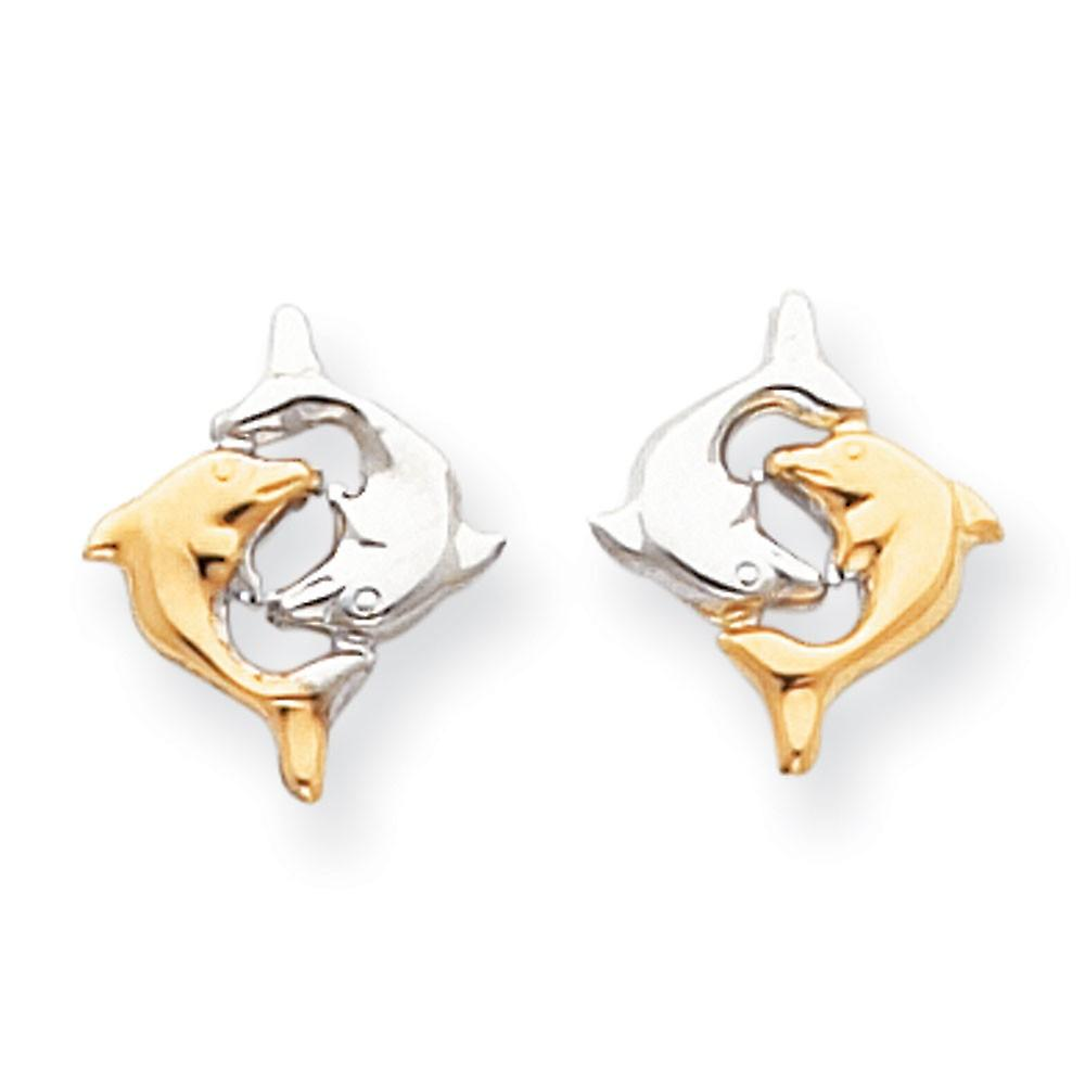 14k blanc or Polished and Rhodium Dolphin Post boucles d'oreilles - .5 Grams - Measures 15x13mm