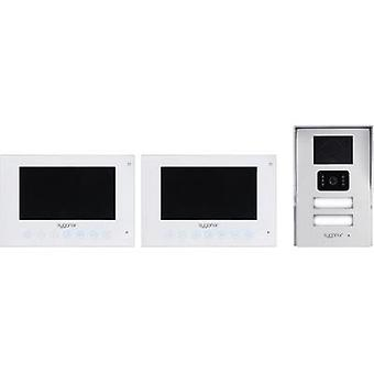 Video door intercom Corded Complete kit Sygonix Semi-detached Silver, White