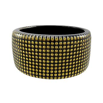 1 1/2 Inch Wide Goldtone Nailhead Studded Lucite Bangle Bracelet