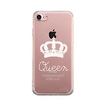 Queen Transparent Couple Matching Phone Case Cute Clear Phonecase