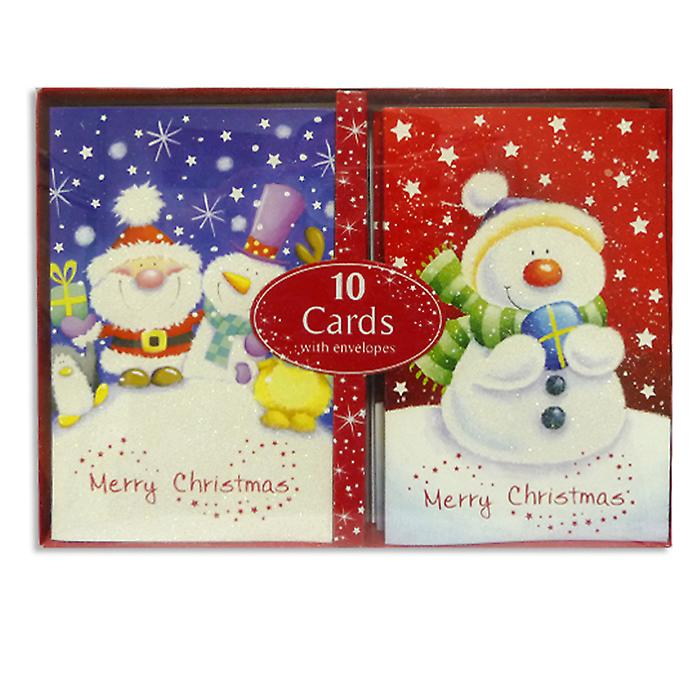 Pack of 10 Christmas Cards inc. Envelopes in 2 Traditional Designs