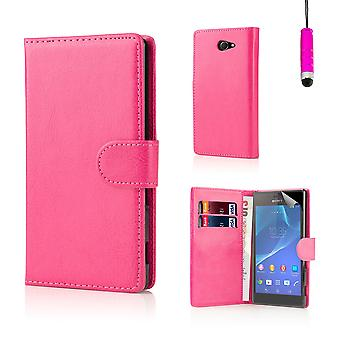 Libro PU Custodia in pelle per Sony Xperia M2 + stilo - Hot Pink
