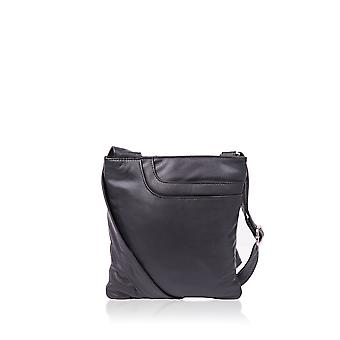 Alexis Leather Across Body Pocket Bag in Black