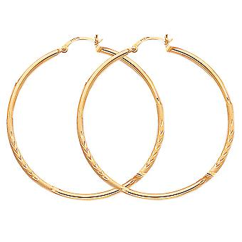 Large Satin and Diamond Cut Hoop Earrings in 14K Yellow Gold 2 Inch (3.00 mm)
