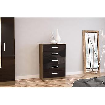 Birlea Lynx 5 Drawer Chest Walnut & Black