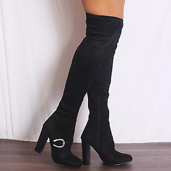 Shoe Closet Black Over The Knee Boots - Ladies Black D3-2B Buckle Faux Suede Over The Knee High Stretch Buckle High Heels Boots