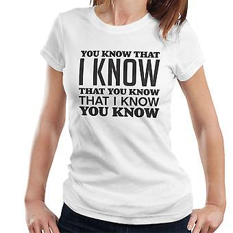 You Know That I Know You Know Women's T-Shirt