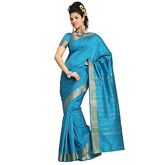 Turquoise Art Silk Saree Sari stof India gouden rand
