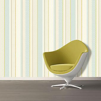 Amaya Stripe Wallpaper Geometric Modern Luxury Soft Teal & Lime Holden Decor